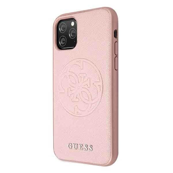 Guess iPhone 11 Pro skal Saffiano 4G Circle Logo Rosa