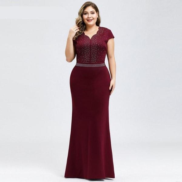 Aftonklänningar, ständigt vackra eleganta v-ringade Burgundy 18