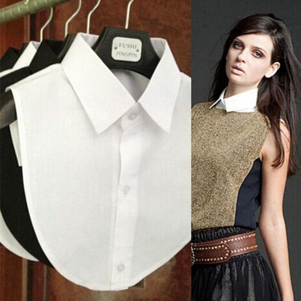 Kvinnor svart vit skjorta avtagbar falsk krage black plaid
