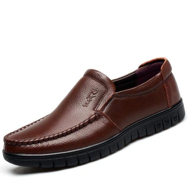Man äkta läder casual skor black 8