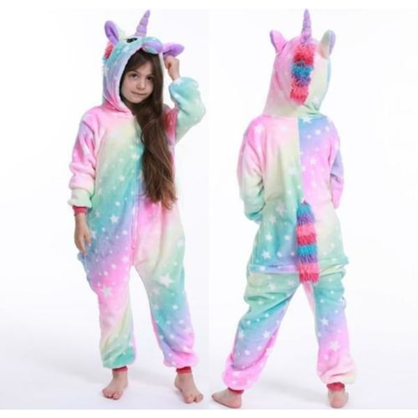 Unicorn pyjamas pojke romper tjej i ett stycke pyjamas tecknad star unicorn 90-100cm