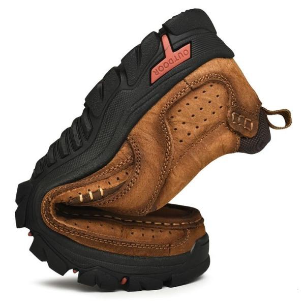 Män äkta läder utomhus sneakers, vintage stövlar Brown-punched 7.5