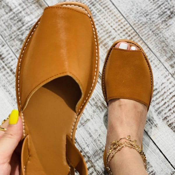 Kvinnors lägenheter avslappnade skor med tå (set 1) Brown 10