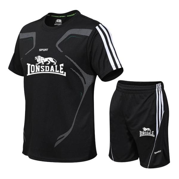 Män casual två delar kostym kortärmad t-shirt & shorts LDJA2