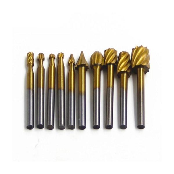 Titanium dremel routing trä roterande fräsning fil fräs 10 Pcs Silver