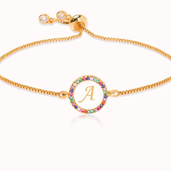 Färgglada regnbåge zirkon brevarmband, orm kedja smycken GOLD adjustableB1343-G-R