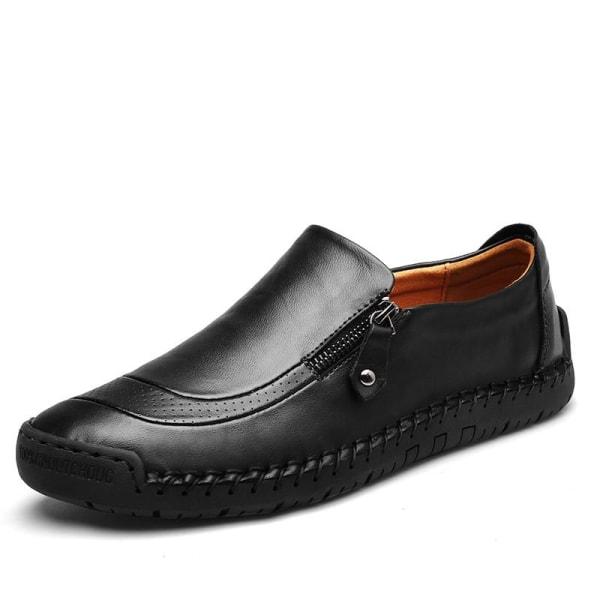 äkta läder män casual skor Black 9.5