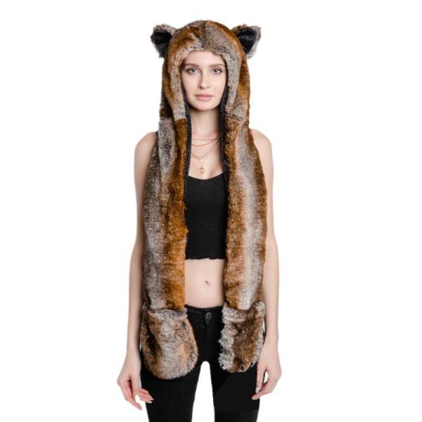 Vinter varm- fluffig plysch, djurhuva, halsdukhatt med G