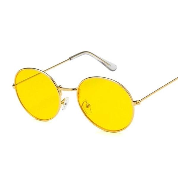 Kvinnor märkesdesigner retro runda gula solglasögon för Gold Dark green