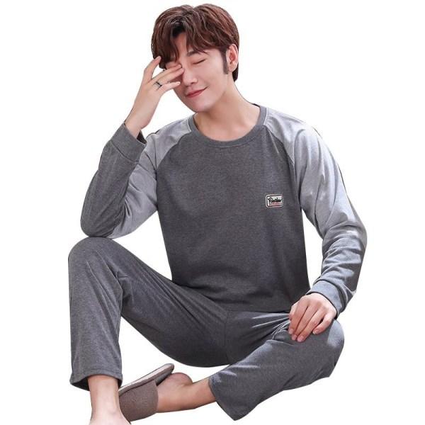 Höst- nattkläder långärmad, bomullspyjamas med byxor ser-5 2XL (75-85kg)M