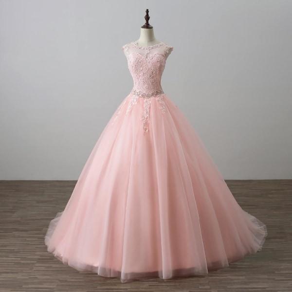 Ren hals applikation ihålig fest klänning klänning Pink 28