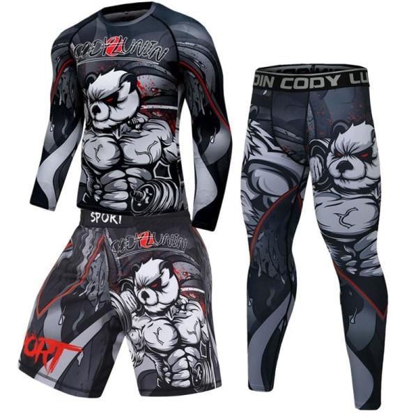 Herr boxning jersey set, fitness kompression sportkläder M4