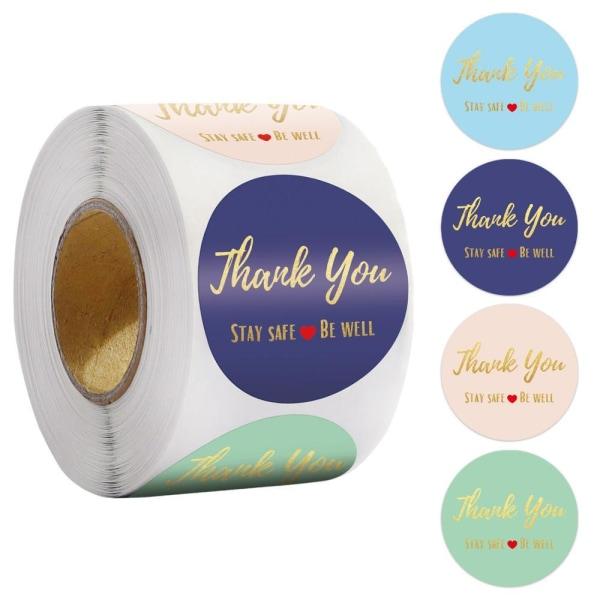 Blå tack klistermärken förseglar etiketter thank you stickers 1