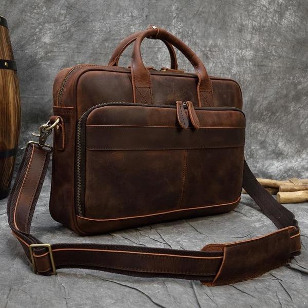 Retro bärbar portföljväska äkta läderväskor Coffee China