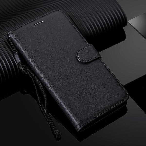 Läder flip plånbok med rem fodral för huawei Black Case & Strap