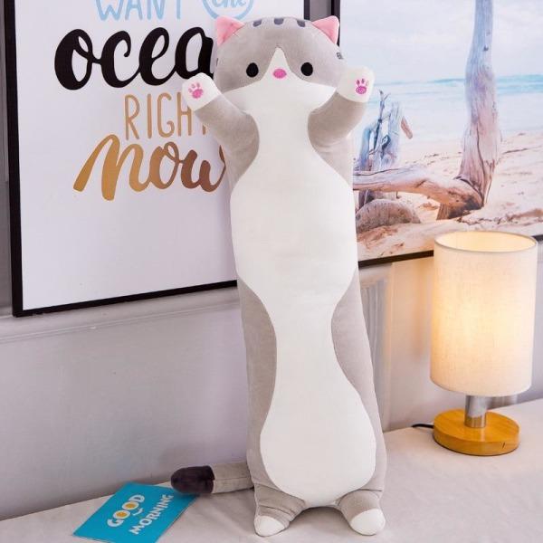 Mjuk/söt/plysch/lång katt/kudde/bomullsdocka leksak kontor Gray 70cm