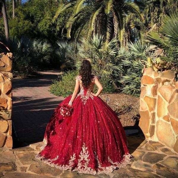 Pärlstav klänning quinceanera klänningar Wine Red 8
