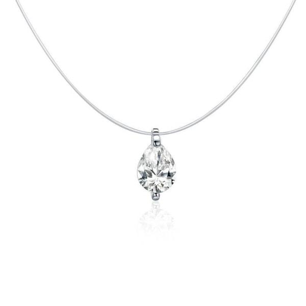 Osynliga kedja halsband, hängen rhinestone choker halsband SCN332-S