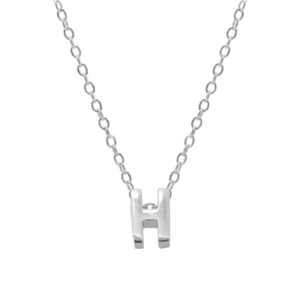 Sterling silver brev rund choker halsband, minimalistiska SILVER H