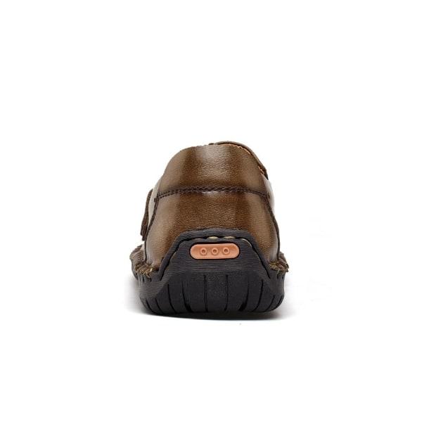 äkta läder män casual skor Dark Brown 11
