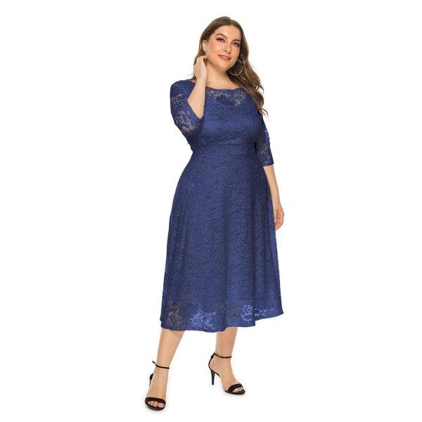 A-line te-längd klänning med fickor White 5XL