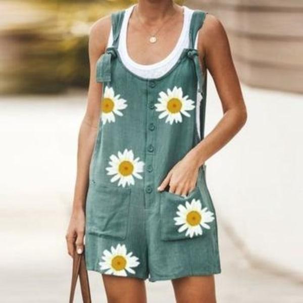 Daisy print jumpsuit kvinnor sommar v-ringad knapp bomullslinne 04 Daisy Black L