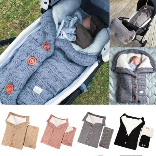 Nyfödda barnvagn linda sova vinter varm filt + barnvagn räcke Gray
