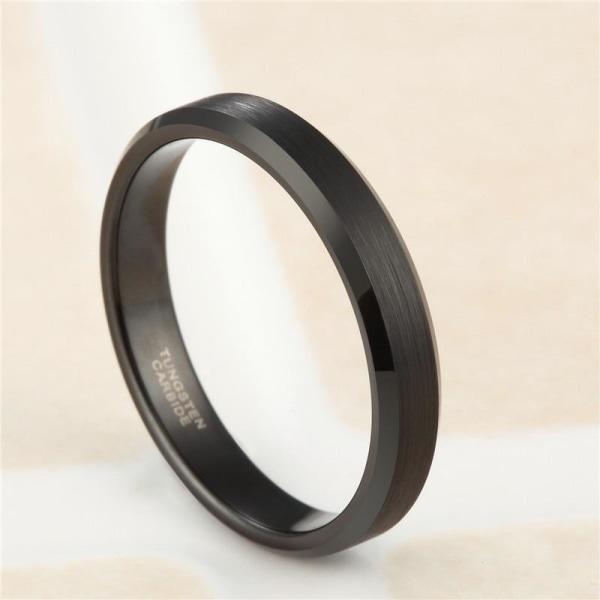 4/6/8 / mm svart volframkarbid förlovningsring för kvinnor 4mm black 14
