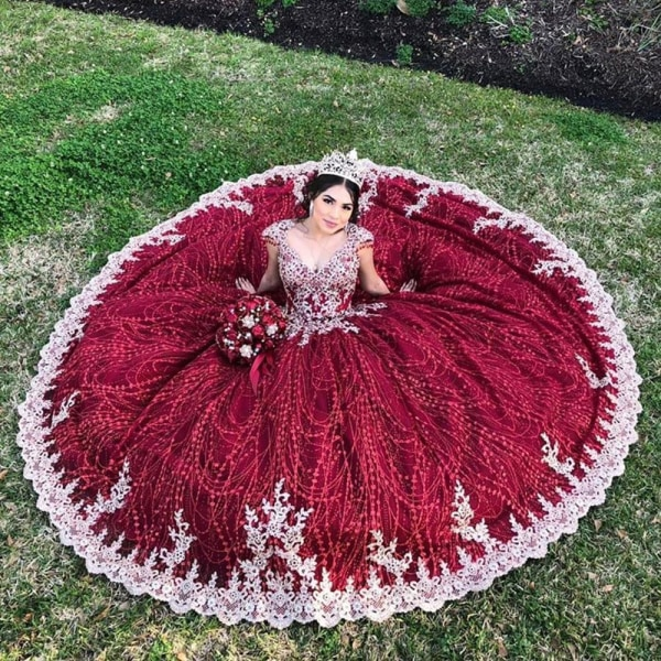 Pärlstav klänning quinceanera klänningar Wine Red 2