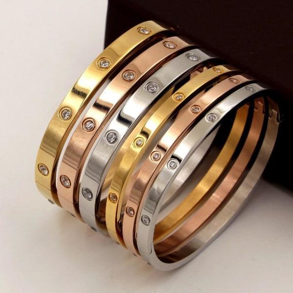 Zirkon älskare armband, män titan stål armband par, silver Rose A