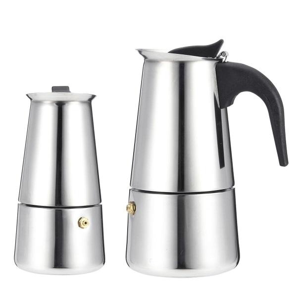 Espressomaskin i rostfritt stål, mokakanna med elspis, 450ml