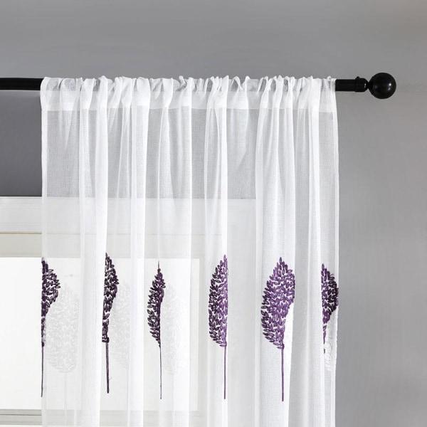 Diy broderade blad rena gardiner för vardagsrumset b Purple W200xL250cm 1pc3.HOOK TAPE TOP