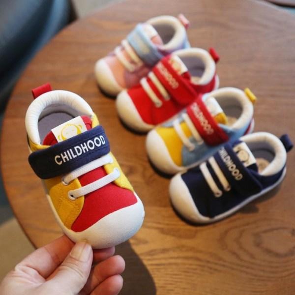 Våren spädbarn småskor casual canvas skor mjuk botten Red 3