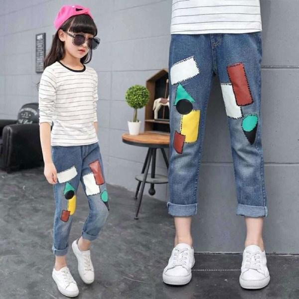 Jeansbyxor nytt mode vårbarn, byxor elastisk midja trasiga Square Patch 11