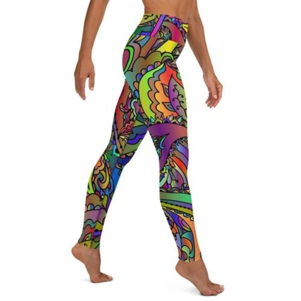 Färgglada paisley fjäril yoga leggings XL