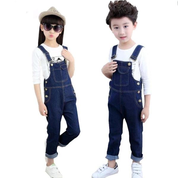 Barn våren bomull jeans, långa byxor, hängslen blue 5