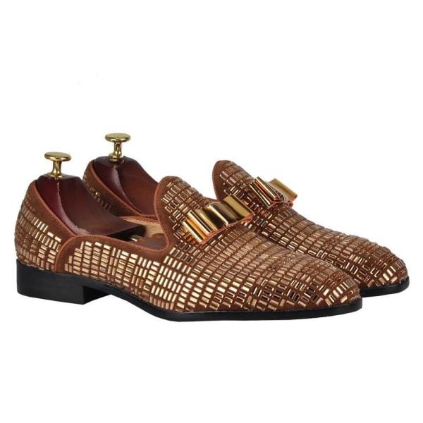 Mäns slip-on lägenheter mockasin casual loafers skor Blue 8.5