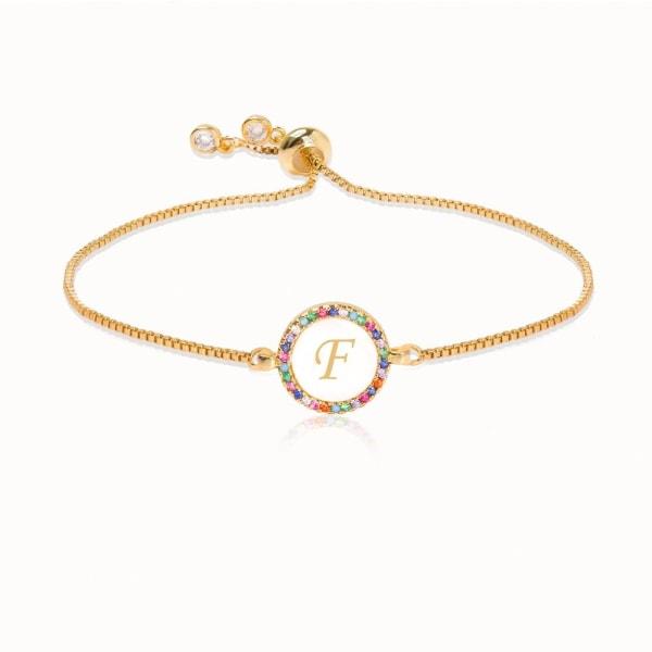Färgglada regnbåge zirkon brevarmband, orm kedja smycken SILVER adjustableB1343-G-F
