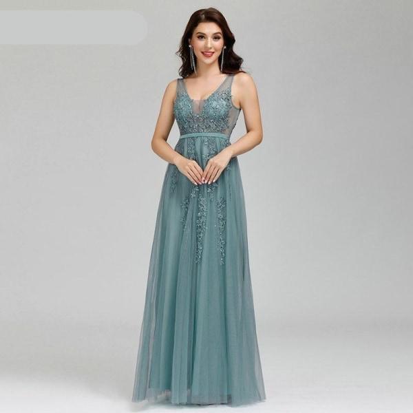 Aftonklänningar för kvinnor, a-line ärmlös klänning Dusty Green 14