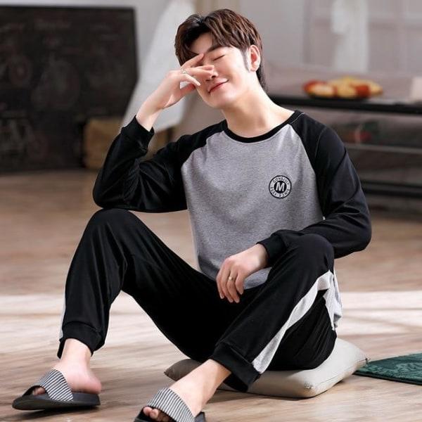Höst-nattkläder långärmad, bomullspyjamas med byxor ser-1 XL (65-75kg)Q