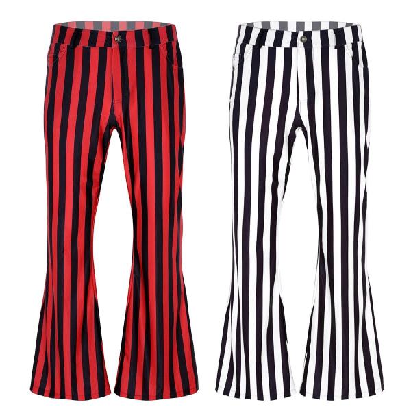 Herr 60s 70s vintage stil, randigt mönster lång botten byxor Red Black XL