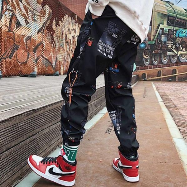 Män lösa joggare byxor med tryck, streetwear harem kläder XXXL(Weight70-75kg)D
