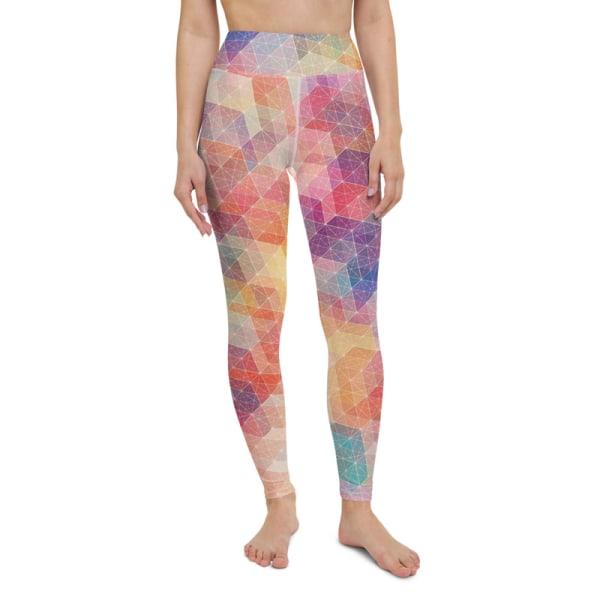 Leggings med hög midja geometri Multi Color XS