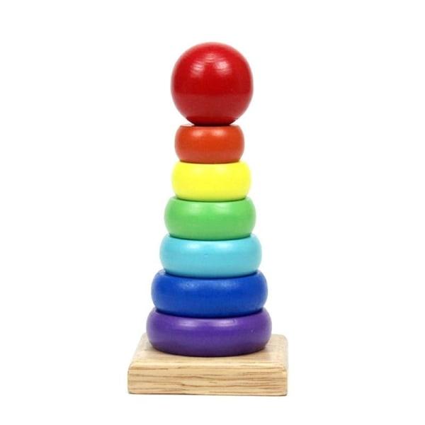 Trä montessori ring torn stapelring block baby spel Rainbow