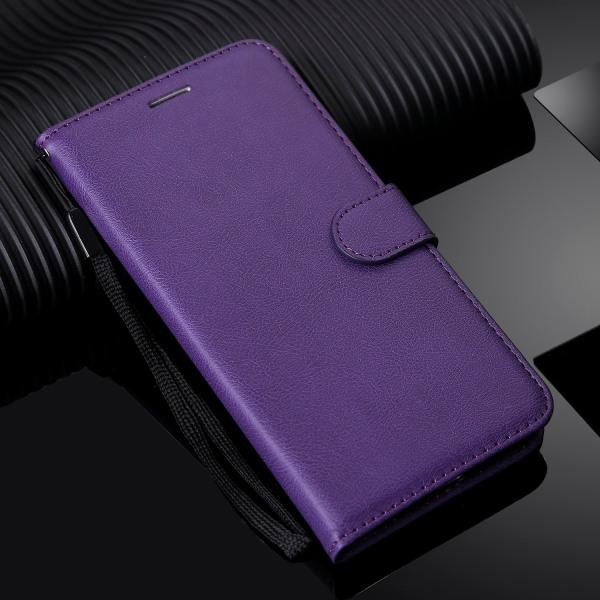 Läder flip plånbok med rem fodral för huawei Purple Case & Strap