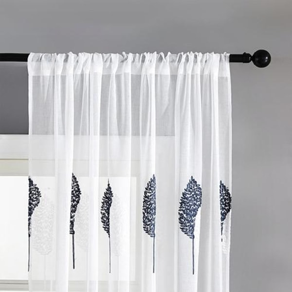 DIY broderade blad rena gardiner för vardagsrummet Deep Blue W100xL130cm 1pc4.Pull Pleated Tape