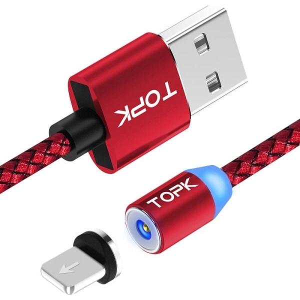 LED-indikator magnetisk USB-kabel 2M8-Pin Cable Red
