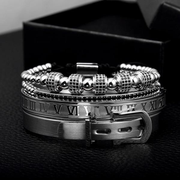 Kungligt klassiskt armband i rostfritt stål, manschettarmband Silver  buckle