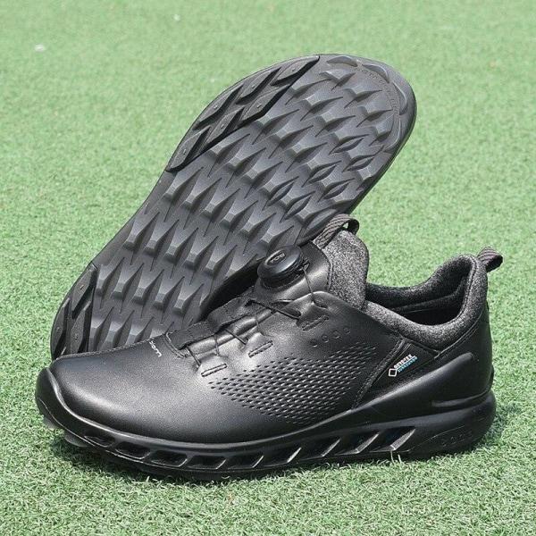 Män äkta läder golfskor, utomhus sportsneakers Black 10