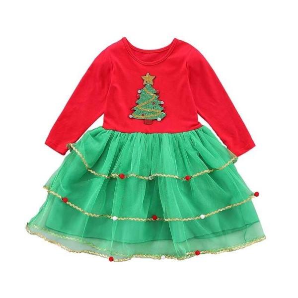Baby flicka klänning höst julgran tryck party kostym A 3T